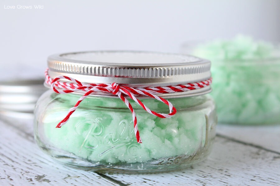 To package the mint sugar scrub to give as gifts, spoon the scrub into wide-mouth half pint mason jars. This recipe is enough scrub to fill 3 of them.