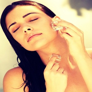 Hold an ice cube on your face till it melts to reduce puffiness around eyes and on spots x