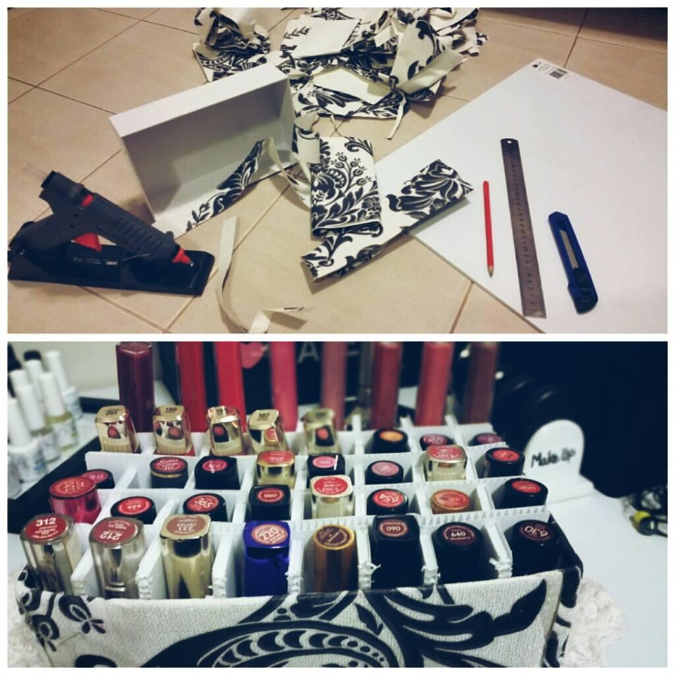 Lip Gloss or Lipstick Holder: Simply using gift wrapping paper, empty shoe box and poster board. Glue using Hot Glue Gun.