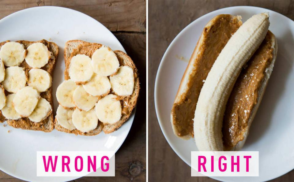14. You slice bananas for peanut butter toast. Spread peanut butter on a hot dog bun and put the banana inside. You'll get the perfect banana-bread-peanut-butter ratio in every bite.