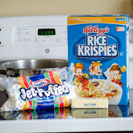 Ingredients:   3 Tbsp. butter or margarine  5-1/2 cups JET-PUFFED Marshmallows  6 cups Kellogg's Rice Krispies
