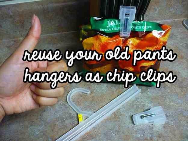 Old pant hanger = Chip clip