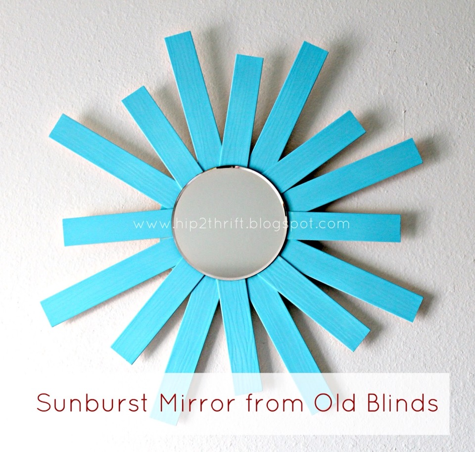 - faux wood blinds - spray paint { I used Crylon Ocean Breeze} - wood glue { I used Epoxy, but you can use Gorilla Glue or even your glue gun}  - scrap wood or a circular piece of wood from the craft store {which is what I used} - circle mirror
