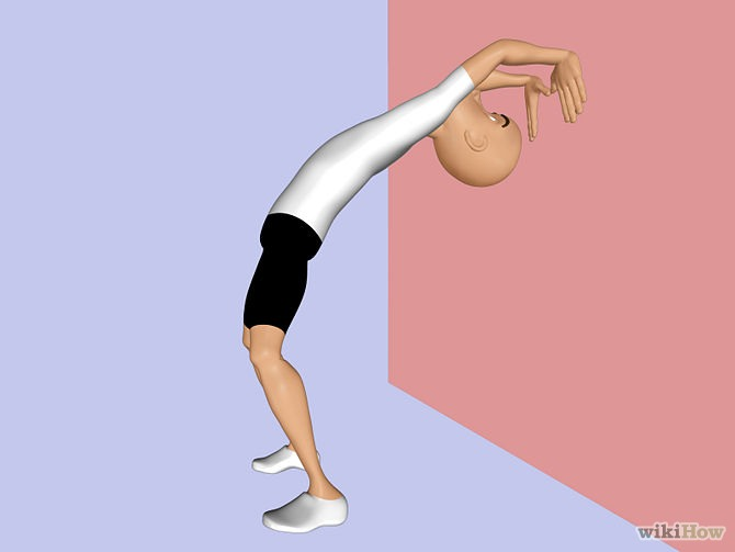 This is the second way to do a back this is for someone who has done a backbend but only the first way so this is the second step to get down into a backbend this way keep lowering yourself on the wall using your hands (please have a supervisor to help you get back up)