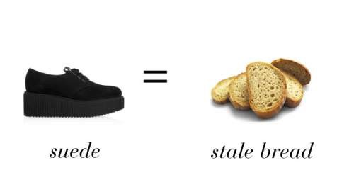 7. Use stale bread crust to remove dirt from suede.