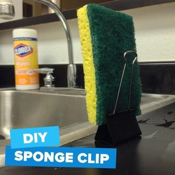 3. Use a binder clip as a sponge stand.