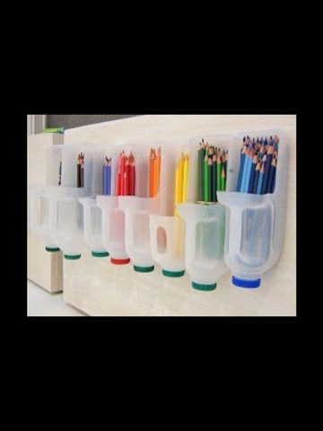 Cut out a bit of the side of a milk carton to store all your coloured pencils! You could also colour the lids too!