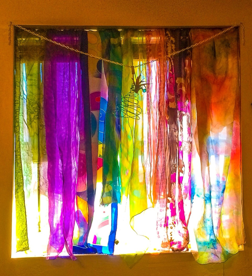 I decided toenshrinemy window blinds in the bedroomwith a few pieces from my copious collection. When the sun shines througheach dayI'm able to gaze upon amasterpiece of my own creation! If Ieverwant to wear a displayed piece no worries each one is easy to dislodge and replace!