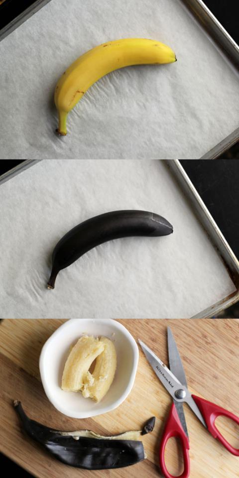 "6. ""Ripen"" bananas in the oven for baking."