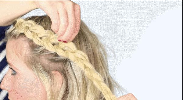 8. Up your braid thickness with the pancaking technique.Once you're done braiding your hair, gently pull out each loop on one side, but just pull a pinch with your fingertips. The best part? You can do this on basically every braid ever.