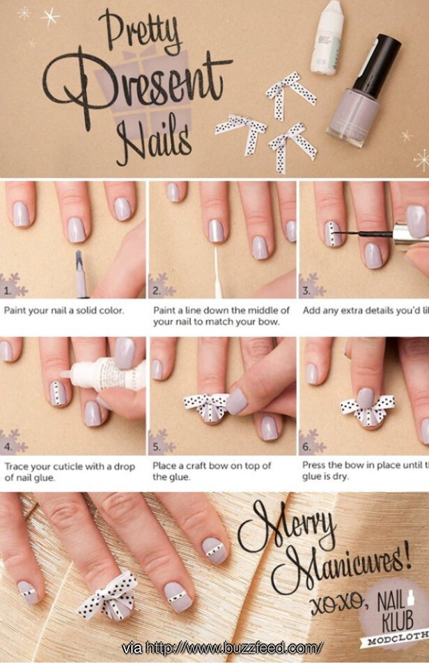 These are super fun if you're going to a Christmas party or one-night event. You will only need your favorite color of polish, white polish, a tiny bow, black and some nail glue. Follow this easy guide and you'll have the cutest nails of all!