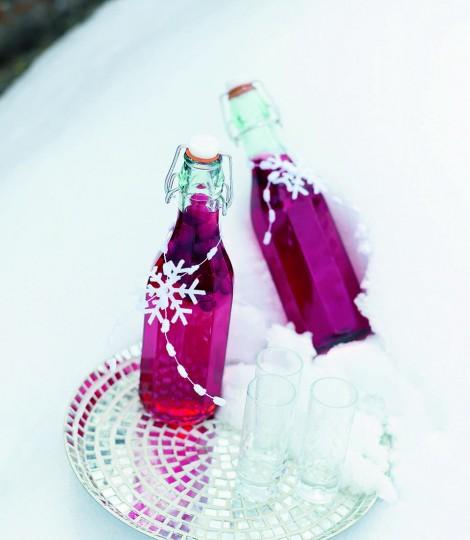 The cranberries give this vodka a brilliant ruby colour that looks so Christmassy. It needs two weeks before it can be bottled, and 3-4 weeks before it can be drunk. It will keep in the freezer almost indefinitely. Give as a home-made gift.