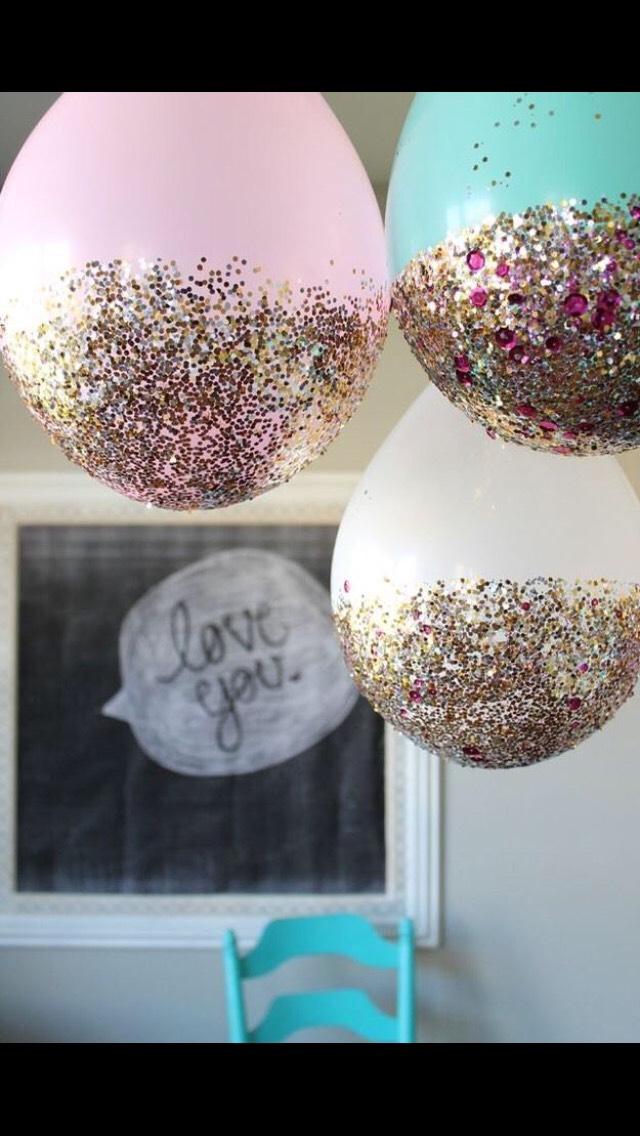 Dip balloons in glitter