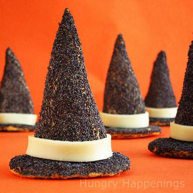 Witch Hat Appetizers  http://www.hungryhappenings.com/2011/10/turn-store-bought-crescent-dough-into.html