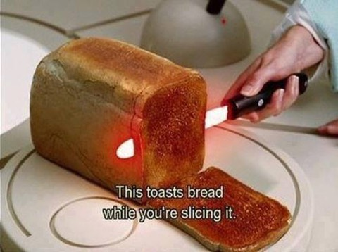 toasts toast whilst slicing