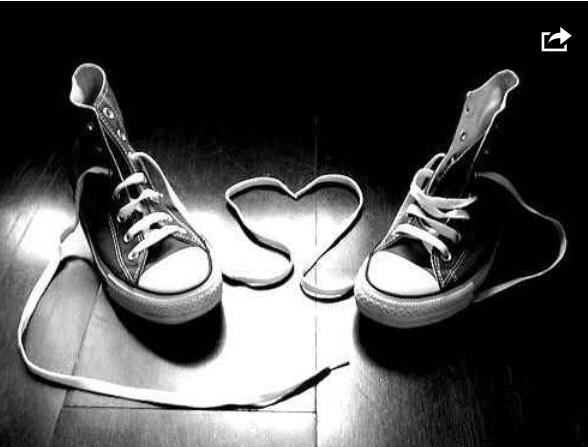I love the idea of having matching converse specially made for my wedding day, and this would be a really cute photo to have of them together