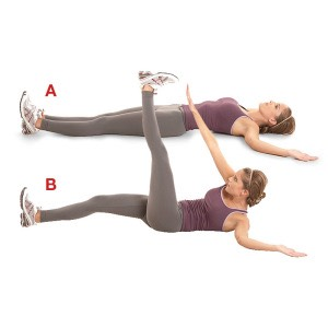 20 toe crunches (each leg=40 toe crunches)