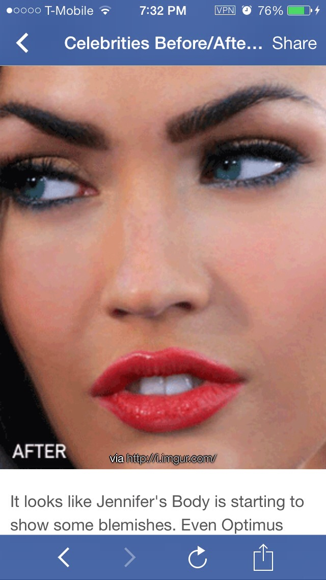 After. Her face is more flawless