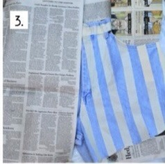 Cover the leg with the stars with newspaper.