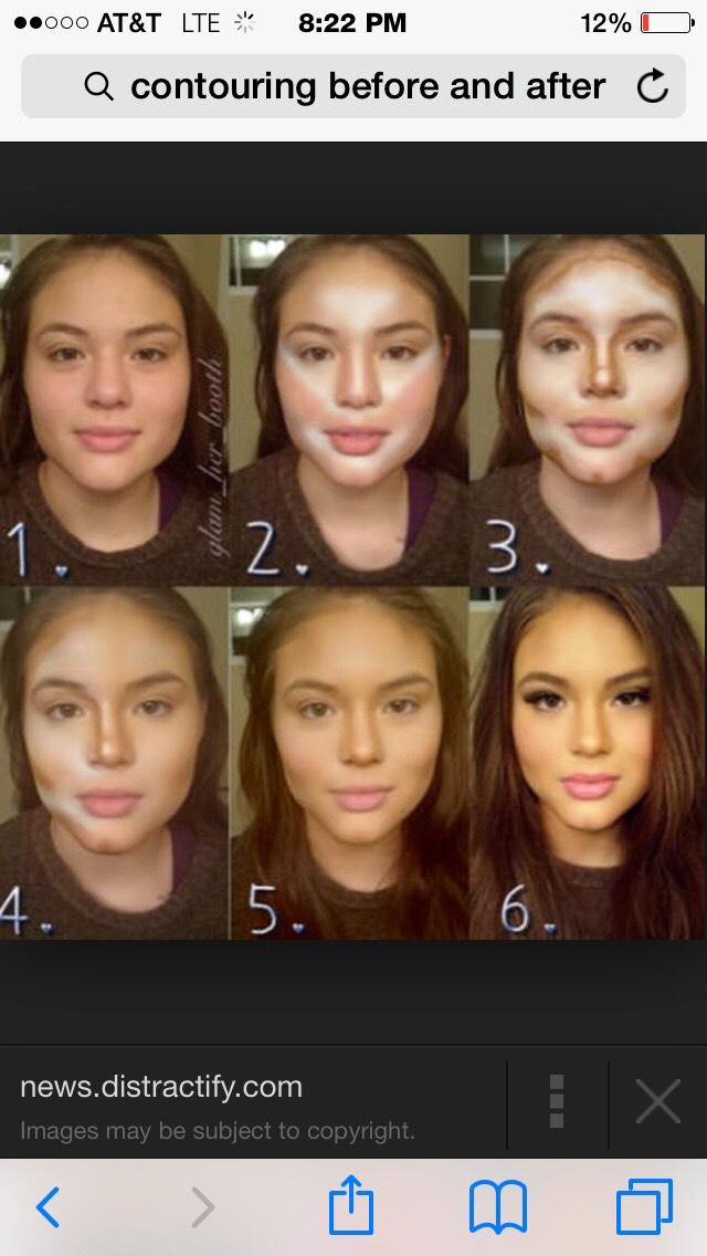 """If you have a more """"heart"""" shape face, or """"squared"""" this is the way you'll want to go. First, use your highlight, and make a triangle """"upside down"""" between your brows and up the forehead. Next draw a line down your nose. (Keep that line thin)"""