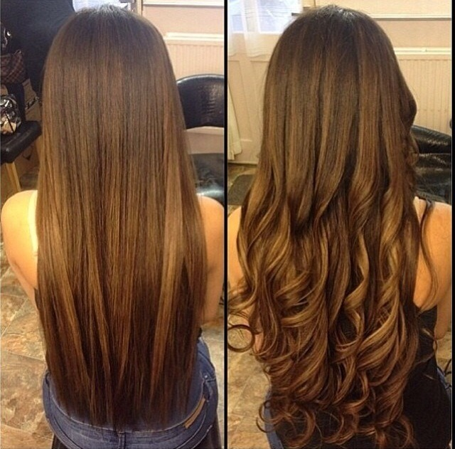 It actully looks soo pretty by having long dark and light brown hair with straight or curl  It will look good on u i swear