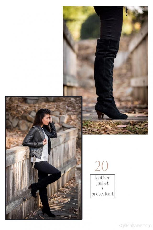 Black over the knee boots with a rocking leather jacket  For an ultra cool fall look wear your black over the knee boots with a black leather jacket and black skinny jeans. To soften up the outfit just a tad I wore a white knit sweater.