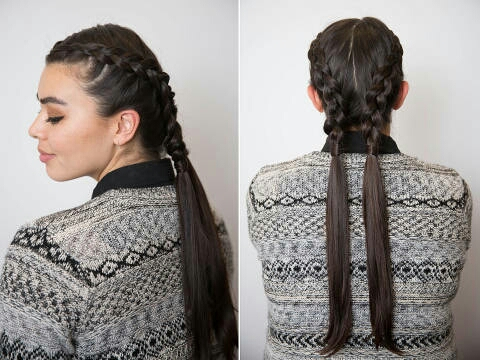 Part your hair down the center of your head, and then create an inverted French braid down the center of each section (between your part and your ear) until you reach the nape of your neck. Secure each pigtail with a hair tie, and then wrap a piece of hair around each elastic band, concealing it,