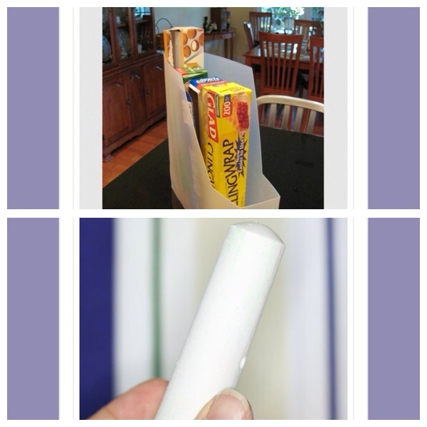 39. Use a magazine holder to store rolls in the kitchen  40. Use chalk to remove stains from clothes by simply rubbing the white chalk on the area and washing it off. The chalk will absorb the grease and be washed away in the cycle