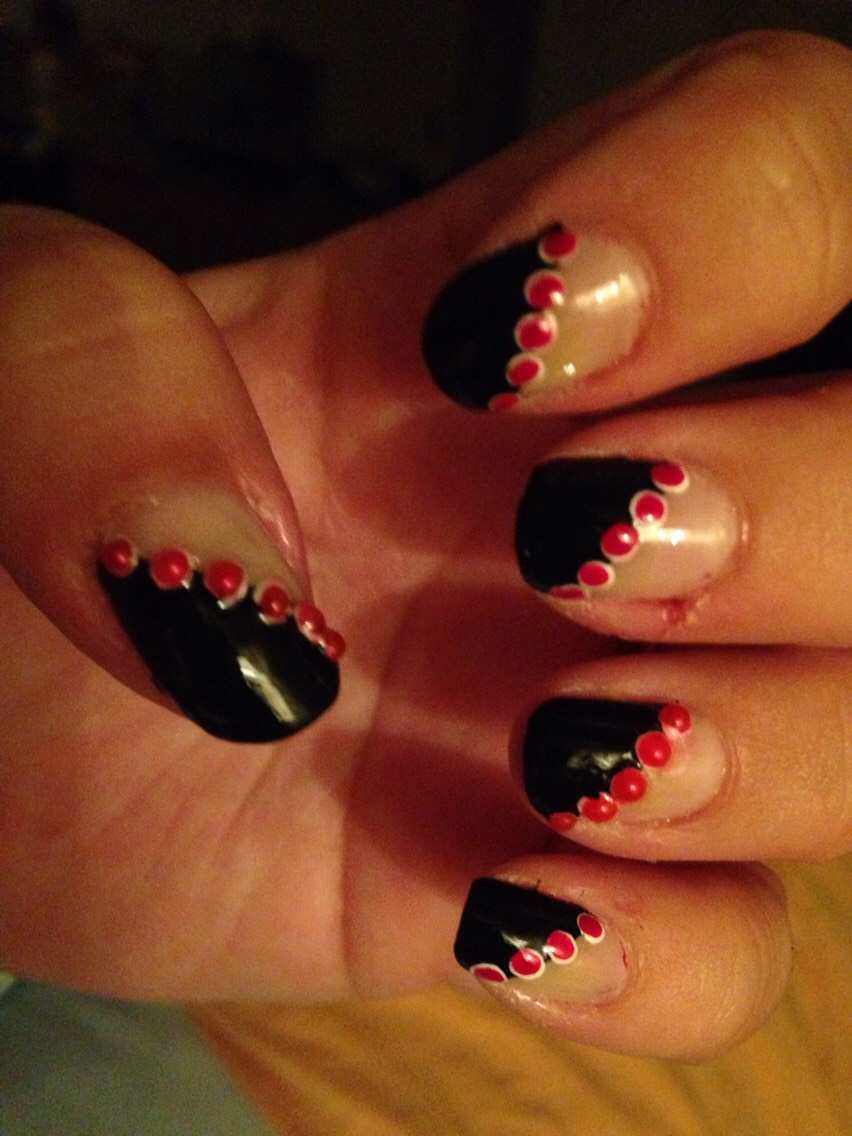Half black with red gems