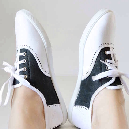 7. All you need is a pair of keds and a paint pen to turn it into a saddle shoe!  Also a great hack for a last minute '50s costume; just pair with a poodle skirt and you're good to go!