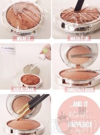 Use alcohol to re fix broken makeup