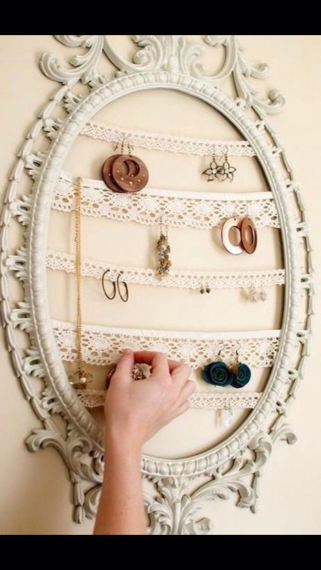 Hot glue lace to the back of a frame and use it to hang jewelry