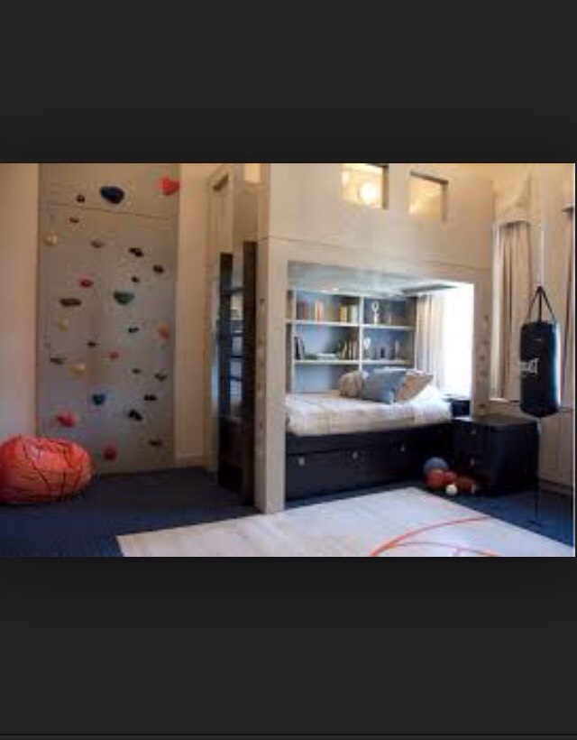 This one is one of my favorites! It has a rock climbing wall in the room! OMG I'm a girl and I would love this room😂 It also has a ladder that you can climb up and be on top omg!!!