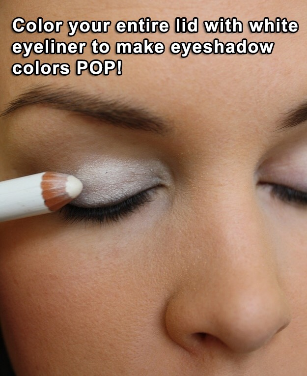 Tip 2: Vibrant Colors  Apply white eyeliner or white eyeshadow all over your lid before putting on shadow to make it less dull