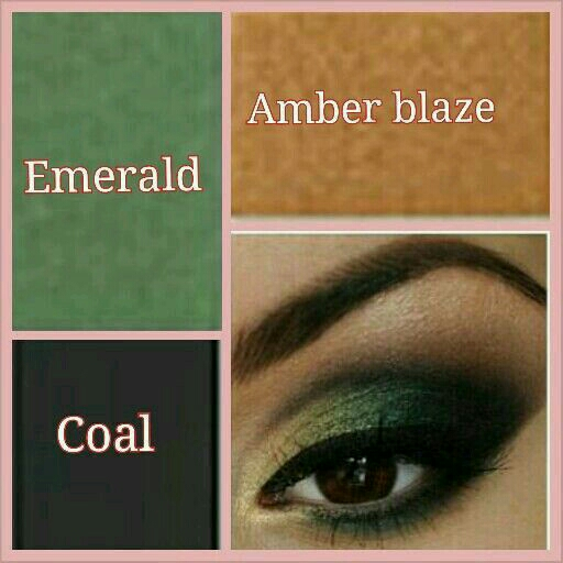 A smoky green with eye brightening gold and coal to add some mystery