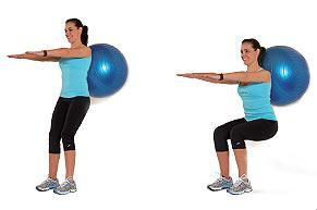 Squats with an Exercise Ball