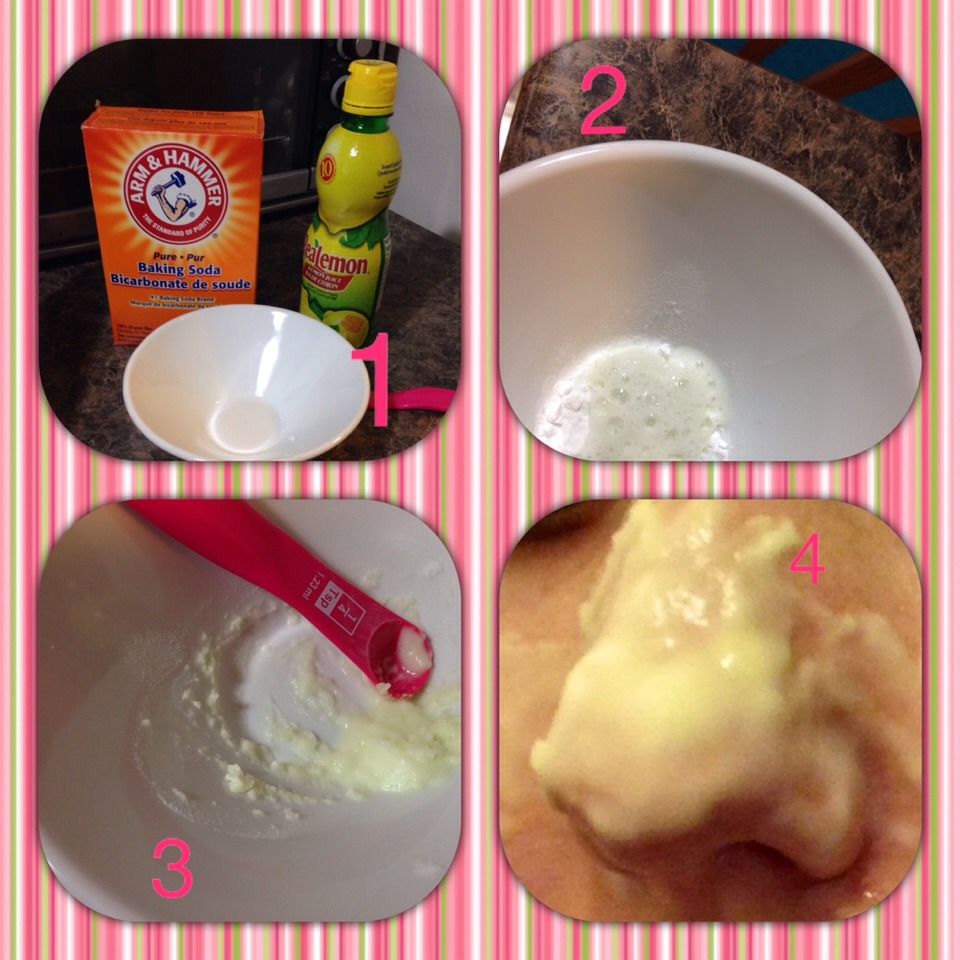 Ingredient: lemon juice and baking soda.  Just mix the ingredients to obtain a paste and apply it to the affected region. Wait until dry and remove it!