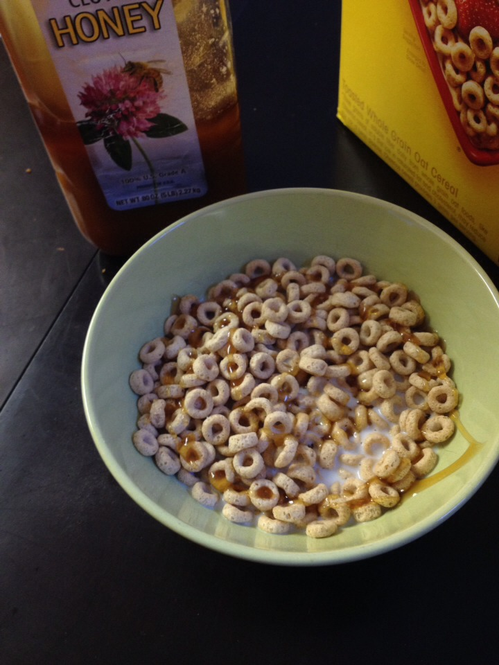 Add honey, I swirl it around so it gets almost all over