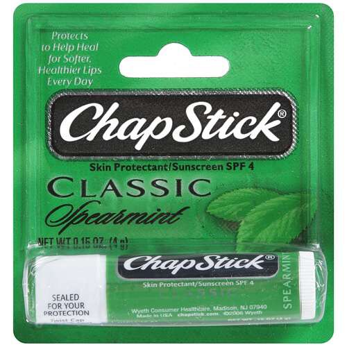 Spearmint Chapstick.  Everyone always thinks I'm weird for carrying mint Chapstick everywhere I go, but it's amazing.  It almost feels cold when you put it on, plus it does everything normal Chapstick does.  It works wonders.  And it smells great.