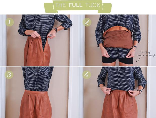 Tuck in your skirt or Roll up ( unless you have a vest over it.) It will show off your legs and could possibly fit you better if your uniform skirt is too big for you.