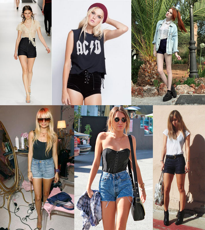 Different ways to wear highwaisted shorts.