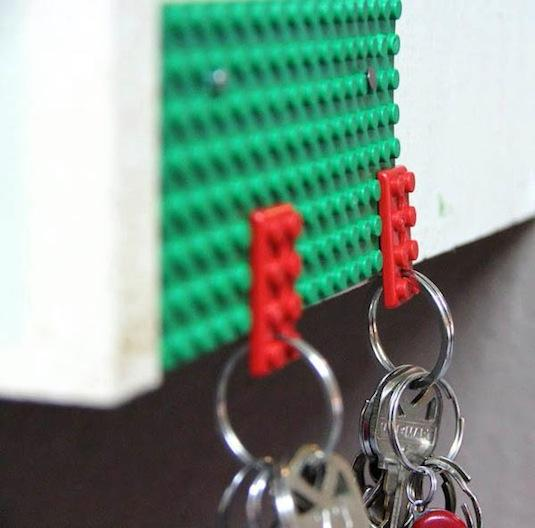 I grew up obsessed with Legos. This might explain my love for this Lego key holder idea. And, there's no drilling required if you use the Lego bricks to connect to your keys.