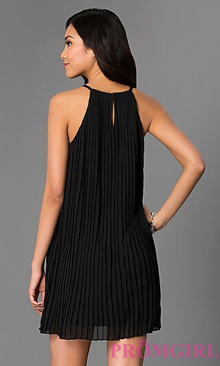 Pleated Black Short Shift Keyhole Cut Out