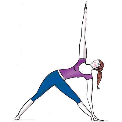 The Triangle: Stretches hamstrings and muscles that support spine, boosts mobility in shoulders  Step feet 5 feet apart, turn left foot out, right foot slightly in. Inhale, raise arms parallel to floor. Exhale, hinge at left hip, rotate so left torso comes down over left leg; rest (Continued) --->