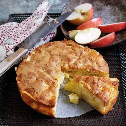 INGREDIENTS  225 g flour  1 tablespoon baking powder  a pinch of salt>  170 g sugar  1 teaspoon ground cinnamon (optional)  160g unsalted butter, at room temperature  2 beaten egg  250 ml milk  3 4 apples, peeled and cut