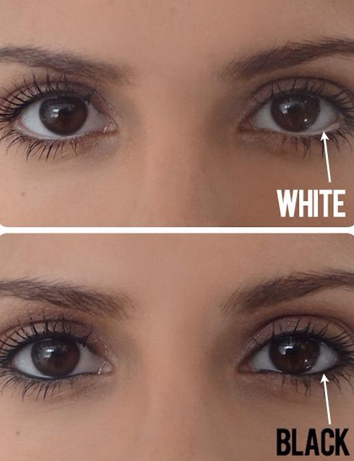 4 mKe eyes appear bigger   If you don't already own a white pencil, invest in one now just for this simple trick! Instead of lining your water line with dark eyeliner, use a white pencil to create the illusion of a bigger eye. If you squint your eyes a little at this picture comparison, you'll see w