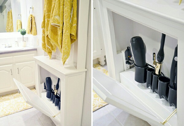 A hair tool cabinet is a great solution for your hair dryer and multiple heat stylers.