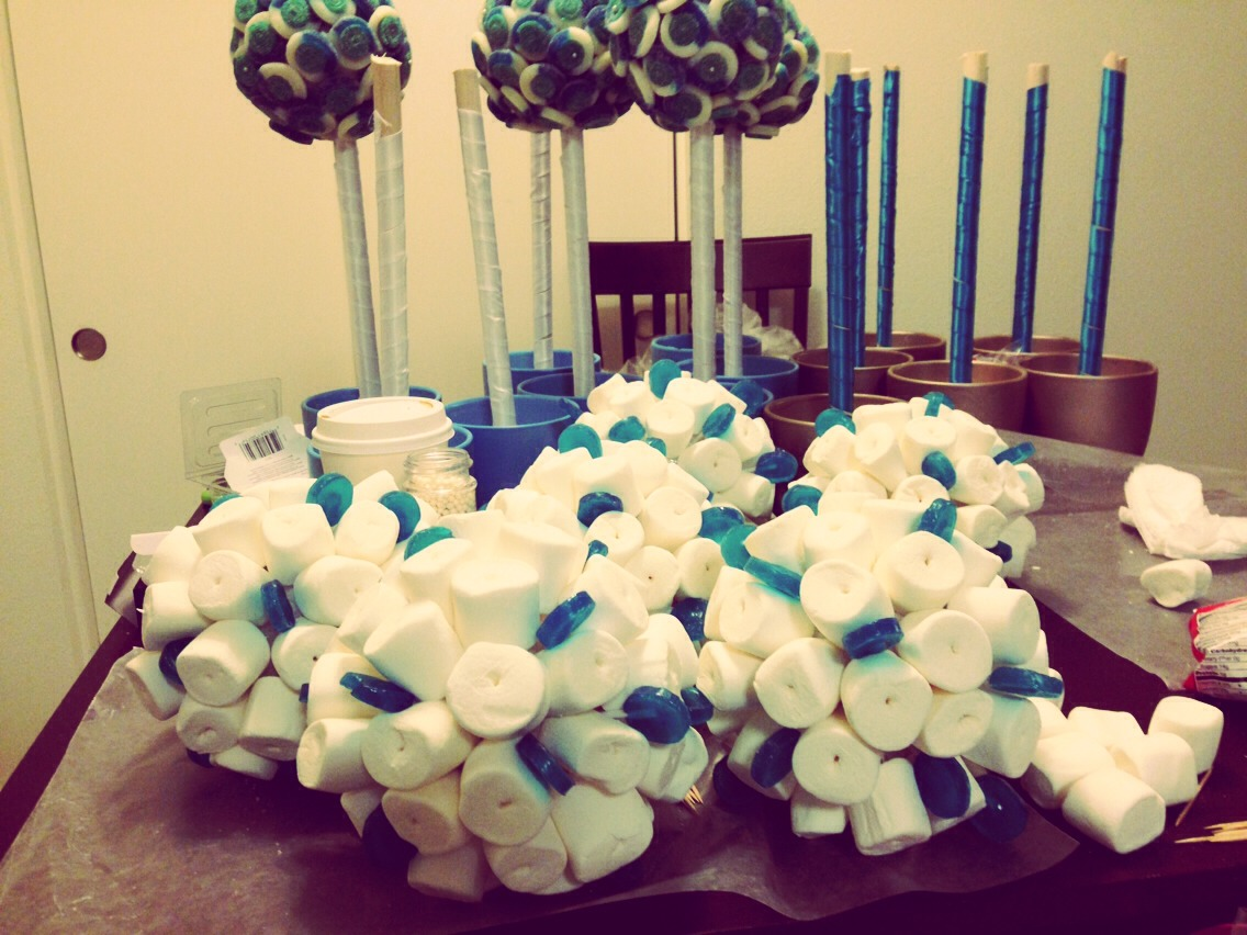 Marshmallow trees just add edible pearls in the middle Use styraphone balls for the center
