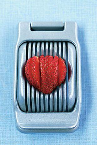 Slice strawberries or mozzarella with an egg slicer.