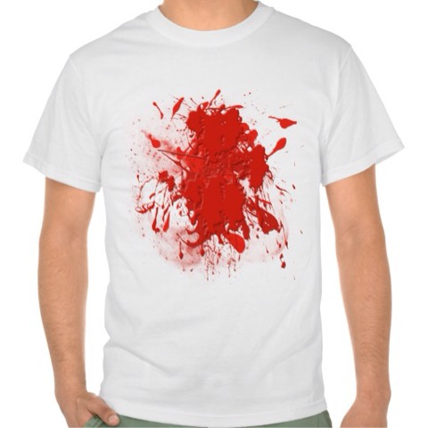 Find an old white t-shirt and add red paint to make a blood shirt or dip your hand in red paint and apply to the shirt it will look awesome
